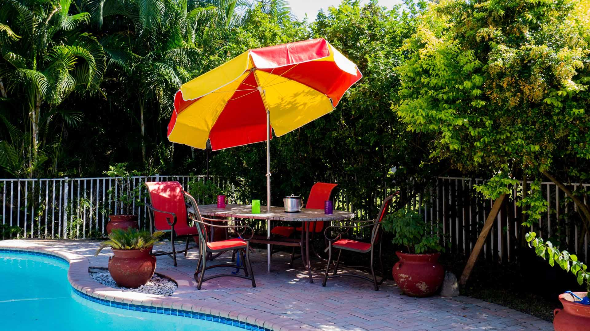 Patio Umbrella 7.50Ft by 8 Ribs, Crank or Pushu Up, Fiberglass or Steel Ribs, Canvas or Vinyl, Aluminum Pole (1 or 2 Piece Pole)
