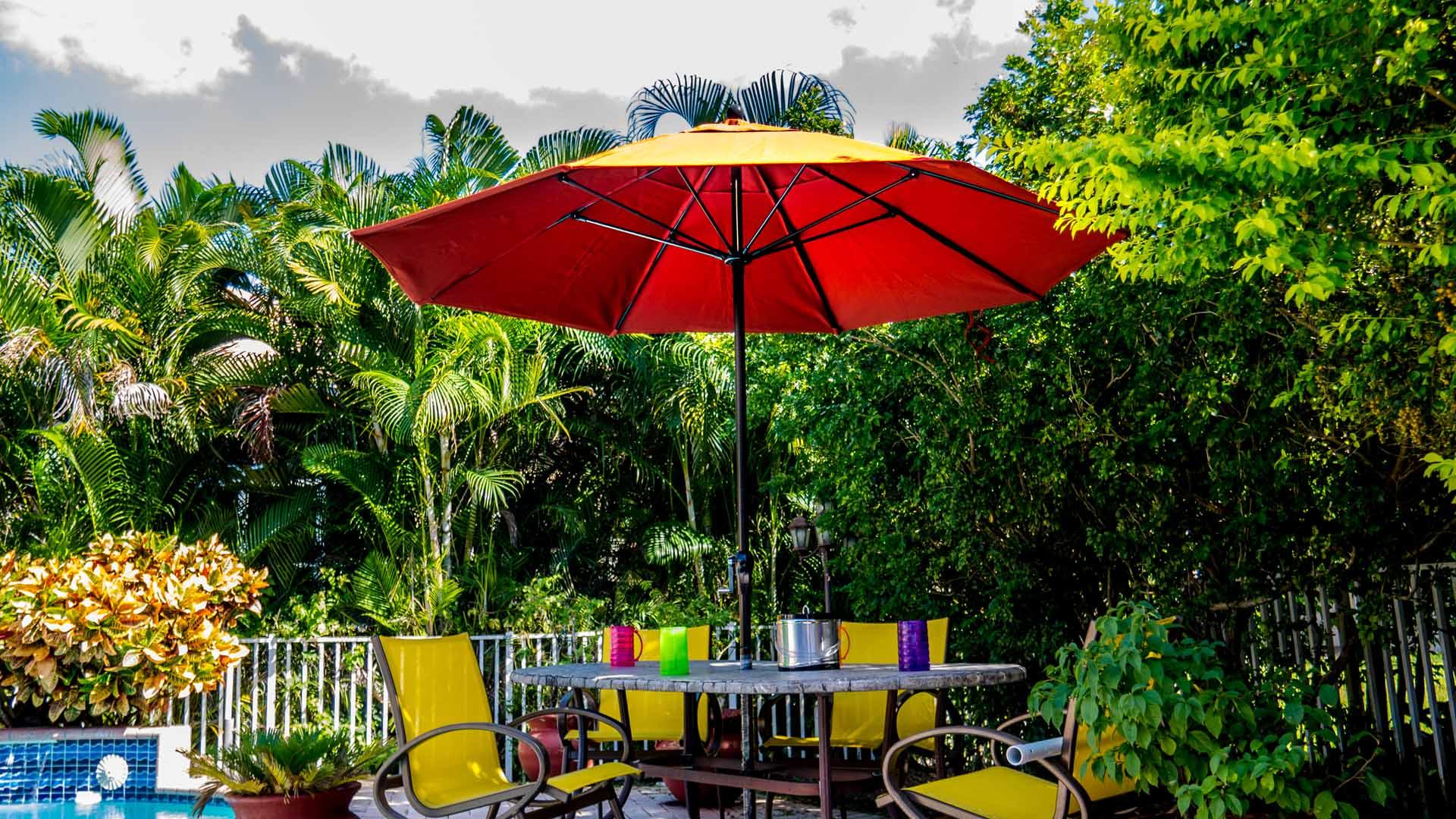 Patio Umbrella 7.50 to 9.00 Ft by 8 Ribs, Crank or Pulley, Fiberglass Ribs, Canvas, Aluminum Pole (1 or 2 Piece Pole)