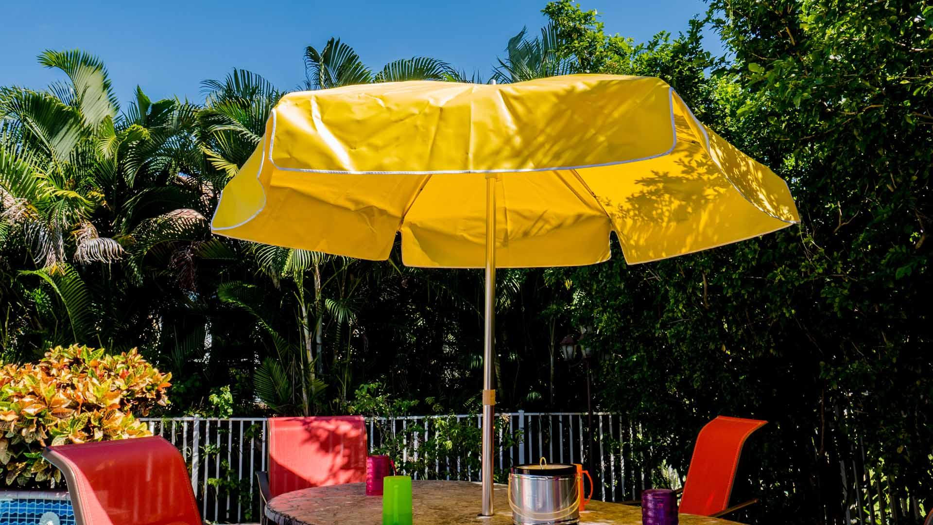 Patio Umbrella 7.50 Ft by 8 Ribs, Crank or Push-up, Steel or Fiberglass Ribs, Canvas, Aluminum Pole (1 or 2 Piece Pole)